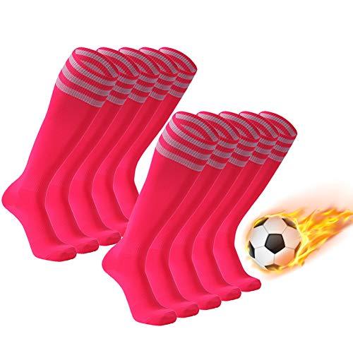 (FOOTPLUS Soccer Socks, Men and Women Long Tube Triple Stripe School Uniform Socks for Softball Baseball Lacrosse Hockey Volleyball, 10 Pairs Pink+White Stripe,)
