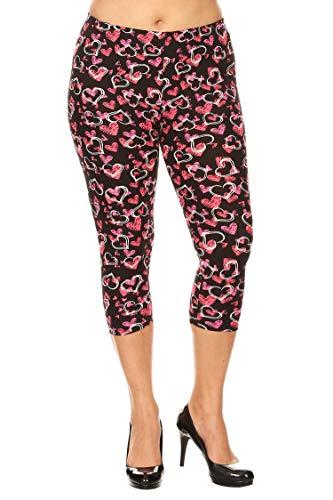 Pants Capri Hearts (Leggings Mania Women's Plus Size Hearts Printed Capri Leggings Pink)