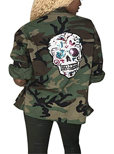 Women's Casual Military Camo Print Lightweight Outwear Coat Camouflage Hot Fix Skeleton Back Overcoat Safari Jacket Party Club Dress XXL -