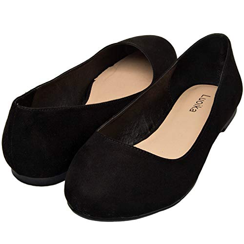 Luoika Women's Wide Width Flat Shoes - Comfortable Slip On Round Toe Ballet Flats. (180110 Black Suede,7.5WW)
