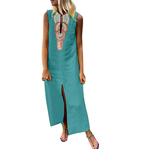 ♛TIANMI Dress for Women,Summer Casual Printed Sleeveless V-Neck Maxi Dress Hem Baggy Kaftan Long Dress