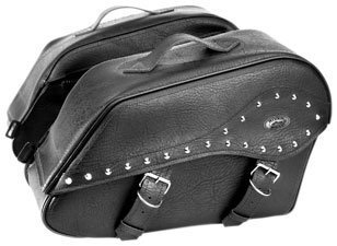 River Road Zip-Off Box Large Saddlebags Studded Black