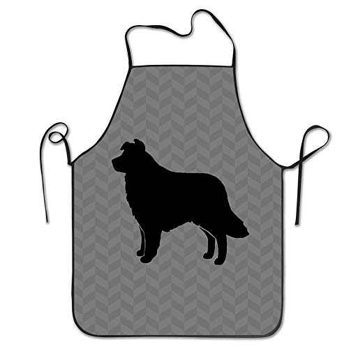 Huayuanhu1-Aprons Border Collie Silhouette(S) BBQ Grill Apron Cooking Funny Apron for Women Men Chef Cooking Bib Apron Long Ties
