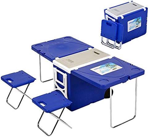 28l多機能ローリングクーラー、折りたたみ式アップグレードピクニックキャンプアウトドアテーブル2椅子付き、キャンプビーチバーベキュー釣り用