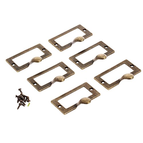 Dophee 6pcs Drawer Chest Cupboard Label Pull Cabinet Frame Handle File Name Card Holder - Big