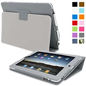 iPad 2 Case, Snugg™ - Smart Cover with Flip Stand & Lifetime Guarantee (Grey Leather) for Apple iPad 2