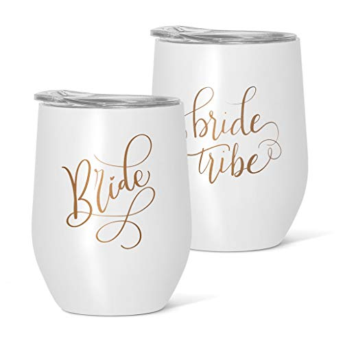 Bachelorette Party Wine Glasses (6 Piece Set of Stainless Steel Wine & Coffee Tumblers - Perfect for Bachelorette Parties, Weddings and Bridal Showers (White, Bride)