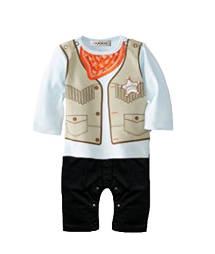 Childrens Cowboy Outfit (StylesILove Infant Toddler Baby Boy Cowboy Sheriff Handkerchief Print Costume Romper (95/18-24 Months, Mint))