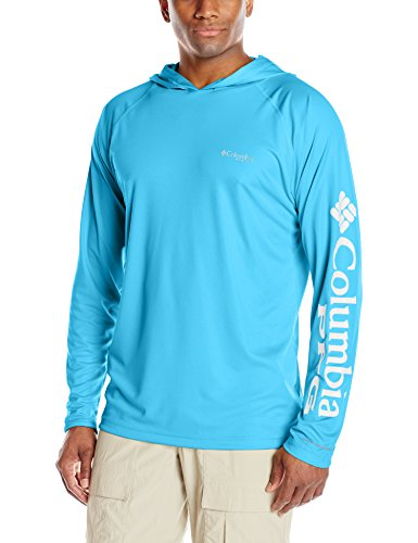 Columbia Men's Standard Terminal Tackle Hoodie, Riptide, White Logo, Medium - Logo Standard Fit T-shirt