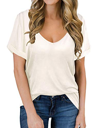 Cute Tops for Women's V Neck Short Sleeve Summer Shirts Loose Tshirt Boyfriend Tees Cream White S