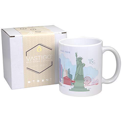 Vastigo 11 Oz. Ceramic Mug with Top Cities in America | Full-Color Sublimated Design | Comes in Gift Box (New York)