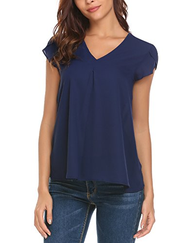 - Concep Womens Casual Chiffon Top, V Neck Cap Sleeve Plus Size Blouse T-Shirts (Navy XXL)