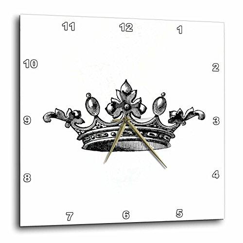 3dRose Majestic Crown Black & White Drawing - Royal Tiara-Like Crown - Vintage Art - King Queen Princess - Wall Clock, 15 by 15-Inch (DPP_151405_3)