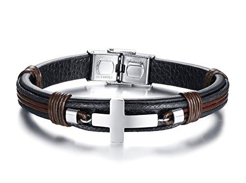 Leather Crucifix - PJ Mens Stainless Steel Genuine Leather Sideways Cross Bangle Wrist Bracelet for Christian Baptism