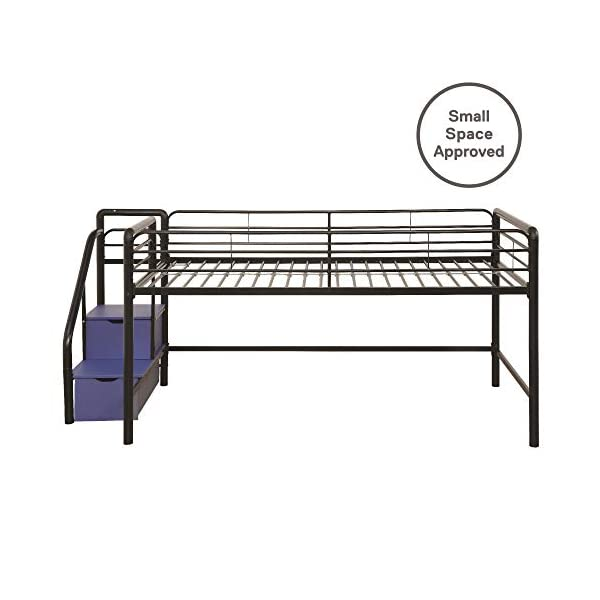 DHP Junior Twin Metal Loft Bed with Storage Steps, Space-Saving Solution, Multifunctional, Black with Blue Steps 7