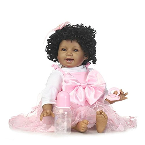 Search : Seedollia Black Reborn Baby Dolls Girls African American Toddler in Pink Dress Smile 22 inch