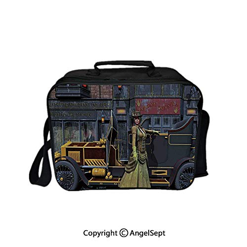 (Multifunctional Lunch Bags for Women Wide Open,Lady Wearing Victorian Style Dress and Vintage Car in Street Mechanic Industrial Era Print Multi 8.3inch,Lunch Box With Double Deck Cooler Tote Bag)