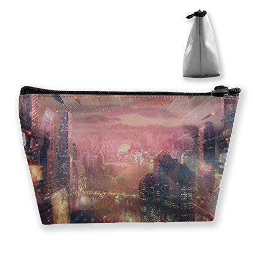 Makeup Bag Cosmetic Artwork Futuristic City Portable Cosmetic Bag Mobile Trapezoidal Storage Bag Travel Bags with Zipper]()