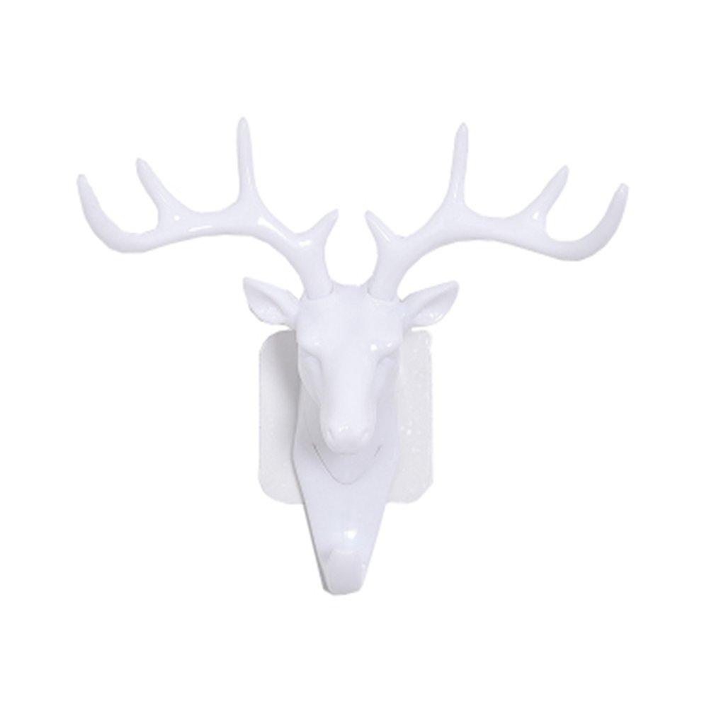 Naisidier Antlers gancio, Gancio a parete testa di cervo per uso domestico Decorazione della parete della stanza Gancio Cappotto a forma di animale Gancio pesante Regalo decorativo rustico 1 pezzo