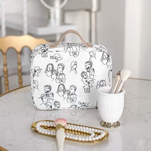 化粧品収納ボックス 大容量の化粧品収納ボックスポータブルハンドバッグ分類された収納ボックスポリエステルモトル SPFOZ (Color : B)