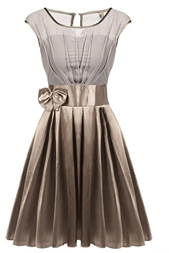ACEVOG Women's Tea Length Pleated Swing Ruffle Hem Cocktail Party Dress(Brown (Brown Juniors Dress)