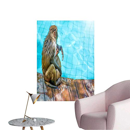 "WilliamsDecor Canvas Paint Many Monkeys Swim in The Pool eat Play and bask in The Sun The Tropics Home Decor Canvas Wall Art  32""x48"""