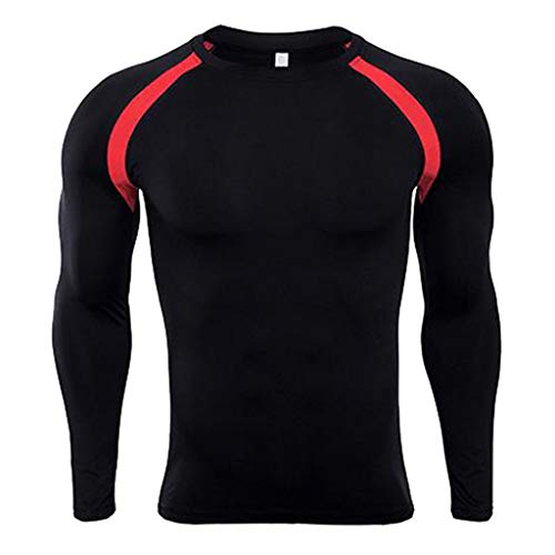 Gallity Mens Running Jogging Sports Long Sleeves T-Shirt Bodybuilding Skin Easy-Drying Tops Activewear (2XL, Red)