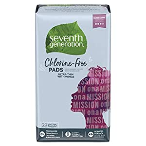 Seventh Generation Ultra Thin Pads with Wings, Super Long Absorbency, Chlorine Free, 32 count (Packaging May Vary)