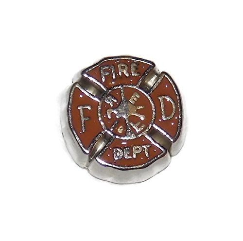 Firefighter Symbol Floating Locket Charm - Old School Geekery TM Brand Lockets and Charms - Small Charm for Glass (Firefighter Symbol Charm)