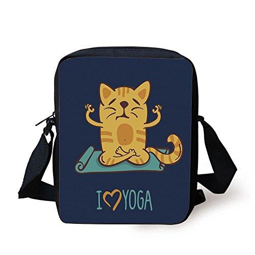 IPrint Animal,I Love Yoga Theme Cute Cartoon Cat Exercise Mat Lotus Position,Dark Blue Light Blue Yellow Print Kids Crossbody Messenger Bag ()