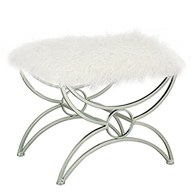 Adeco X Shape Stand Fabric Bench Ottoman Chair Footstool, White Color from Adeco