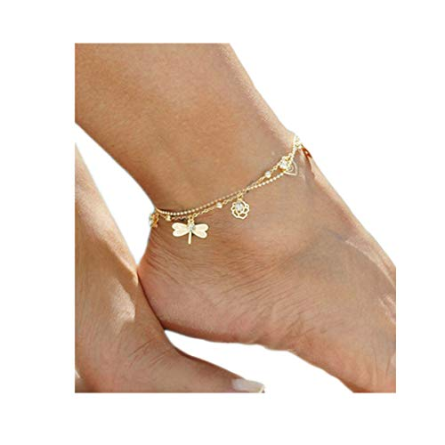 Gold Bracelets Dragonfly (Zealmer Layered Rhinestone Dragonfly Anklet Rose Flower Heart Ankle Bracelet Gold Chain)
