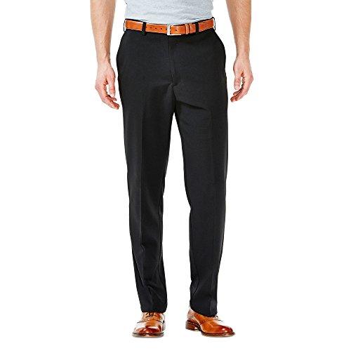 Haggar Mens Cool 18 Flat Front Pant, Black, 46-32