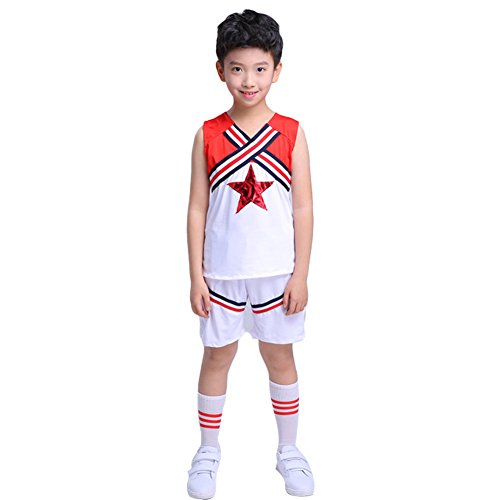 Boys Cheerleader Uniform Costume Youth Red Star Cheer Outfit Match Pompoms (5-6, Short)