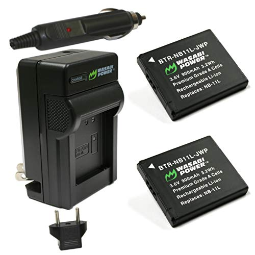 Wasabi Power Battery (2-Pack) و شارژر Canon NB-11L، NB-11LH و Canon PowerShot A2300 IS، A2400 IS، A2500، A2600، A3400 IS، A3500 IS، A4000 IS، ELPH 110 HS، ELPH 115 HS، ELPH 130 HS، ELPH 135 IS، ELPH 140 IS، ELPH 150 IS، ELPH 160، ELPH 170 IS، ELPH 320 HS، ELPH 340 HS، ELPH 350 HS، SX400 IS، SX410 IS
