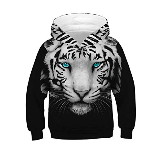 NEWCOSPLAY Unisex Kids Hooded Realistic 3D Galaxy Digital Print Sweatshirt Baseball Jersey for Boys Girls (11-12 Years, Blue Eyed Lion)