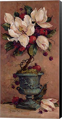 Magnolia Topiary II by Barbara Mock Canvas Art Wall Picture, Museum Wrapped with Black Sides, 12 x 24 inches