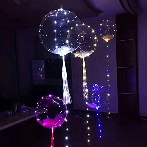 DANIDEER Led BoBo Balloons White/Pink/ Blue, 18 Inch 5 PCS Transparent Helium Balloons with String Lights, LED Light up Balloons for Christmas, Indoor or Outdoor Event, Wedding (White)