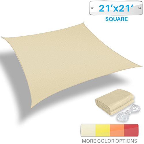 Patio Paradise 21'x21' Waterproof Sun Shade Sail-Beige Square UV Block Durable Awning Canopy Outdoor Garden Backyard by Patio Paradise