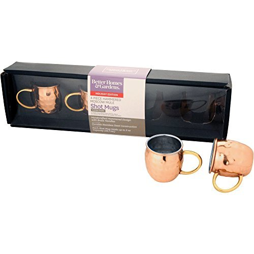 2-ounce Hammered Copper Moscow Mule Mugs Shot Glasses - Set