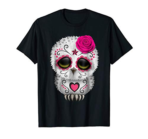 Owl Sugar Skull Trick Or Treat Pumpkin Halloween Boo T-Shirt ()