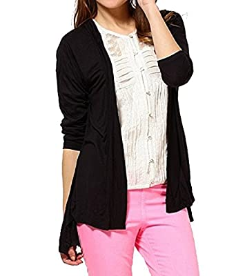 7118d1d737 STYLE SHELL Black Women s Cotton Shrug  Amazon.in  Clothing ...