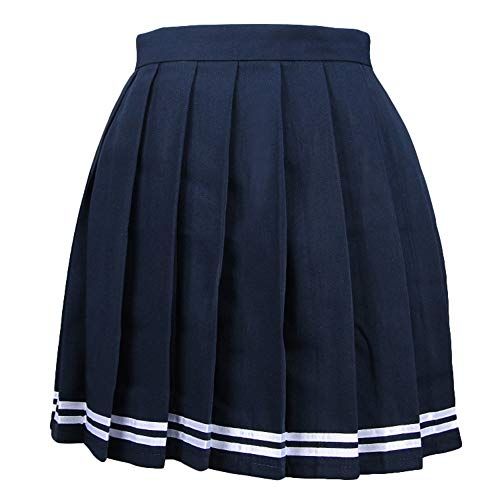 Nouveau Femme Bleu Court L vas rayure Jupe Patineuse Mini Jupe Ecossais Pliss Singhi vRaxdv