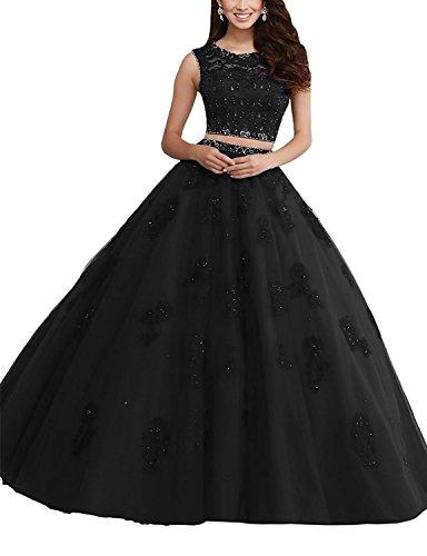 Da Ballo Abito Lunghe Bessdress Nero Strass Due Dresses Prom Bd078 Quinceanera Pizzo Di A Pezzi XqwAqnIFx