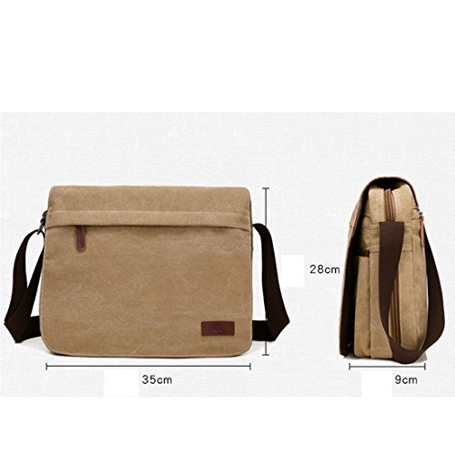 Canvas Satchel Khaki Unyu Girl Shoulder Messenger Female Boy And For Bag Crossbody Laptop Retro Male Women Men a011qwRr5
