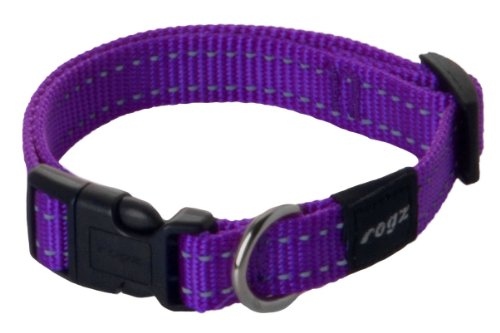 ROGZ Utility Medium 5/8-Inch Reflective Snake Dog Collar, Purple