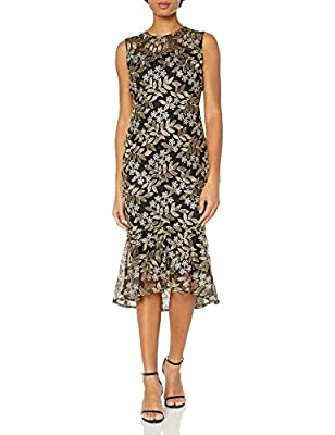 Calvin Klein Women's Sleeveless Lace Sheath with Flounce Hem Dress