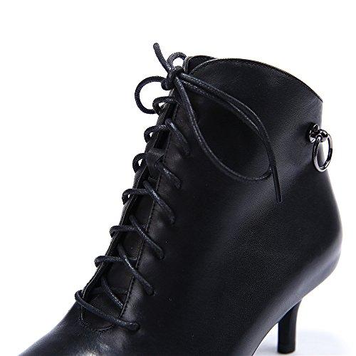Nueve Siete De Cuero Genuino De Las Mujeres Del Dedo Del Pie Puntiagudo Tacón De Aguja Cremallera Hecho A Mano Con Cordones Tobillo Botas Negro