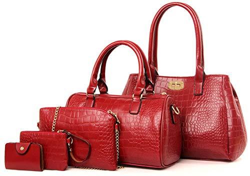 Handbags Bags Satchel Wine Tote Women Shoulder Red Set for 5pcs Purse Amy Hobo Sister Z5nwqRaR