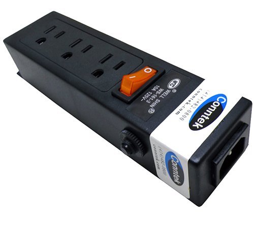 (Conntek Power Strip 125V 7-1/2-Inch Housing IEC C14 to U.S 3 Prong Power Strip 3 Outlets with AC Adapter Space)